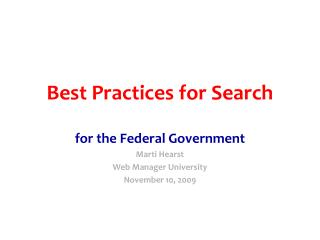 Best Practices for Search