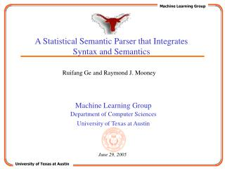 A Statistical Semantic Parser that Integrates Syntax and Semantics