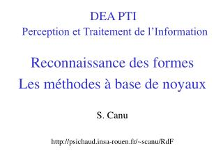 DEA PTI Perception et Traitement de l'Information
