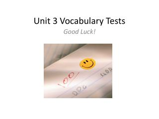 Unit 3 Vocabulary Tests