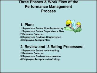 Three Phases & Work Flow of the Performance Management Process       		1. Plan: