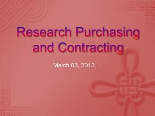 Research Purchasing and Contracting