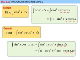 SEC 8.2:   TRIGONOMETRIC INTEGRALS
