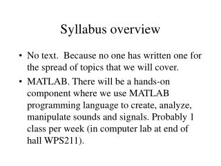 Syllabus overview