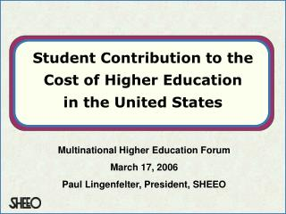 Student Contribution to the Cost of Higher Education  in the United States