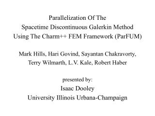 Parallelization Of The Spacetime Discontinuous Galerkin Method