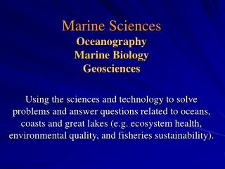 Marine Sciences Oceanography Marine Biology Geosciences