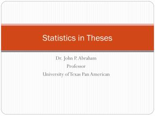 Statistics in Theses