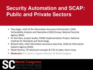 Security Automation and SCAP: Public and Private Sectors