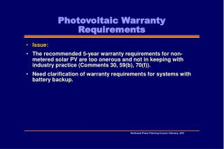 Photovoltaic Warranty Requirements