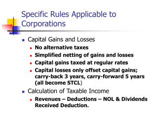 Specific Rules Applicable to Corporations