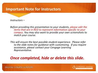 Important Note for Instructors