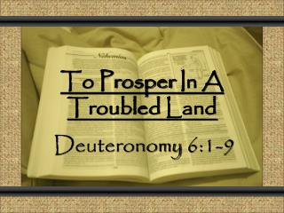 To Prosper  In A  Troubled Land