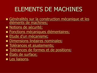 ELEMENTS DE MACHINES