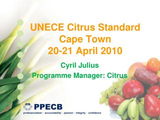 UNECE Citrus Standard Cape Town  20-21 April 2010