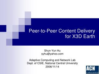 Peer-to-Peer Content Delivery for X3D Earth