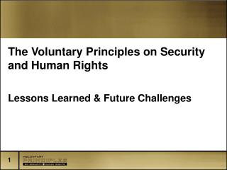 The Voluntary Principles on Security and Human Rights Lessons Learned & Future Challenges