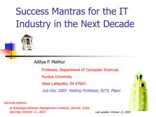 Success Mantras for the IT Industry in the Next Decade