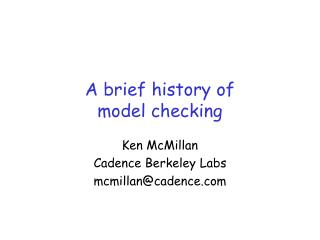 A brief history of model checking