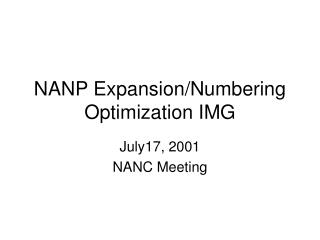 NANP Expansion/Numbering Optimization IMG