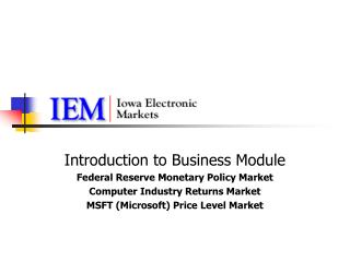 Introduction to Business Module Federal Reserve Monetary Policy Market