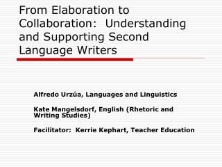 From Elaboration to Collaboration:  Understanding and Supporting Second Language Writers