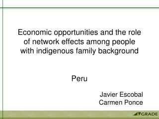 Economic opportunities and the role of network effects among people  with indigenous family background    Peru