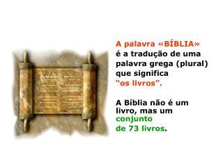 """A palavra «BÍBLIA» é a tradução de uma palavra grega (plural) que significa """"os livros""""."""