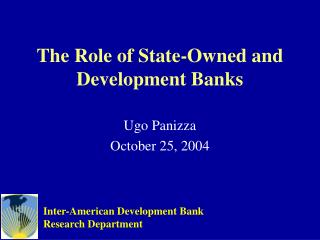 The Role of State-Owned and Development Banks