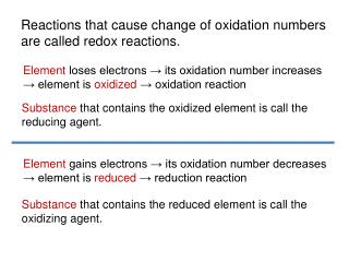 Reactions that cause change of oxidation numbers are called redox reactions.