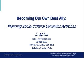 Becoming Our Own Best Ally: Planning Socio-Cultural Dynamics Activities  in Africa