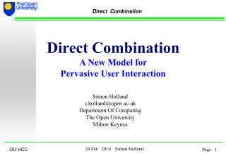 Direct Combination A New Model for Pervasive User Interaction