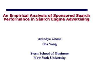 An Empirical Analysis of Sponsored Search Performance in Search Engine Advertising