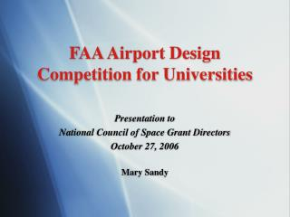 FAA Airport Design Competition for Universities