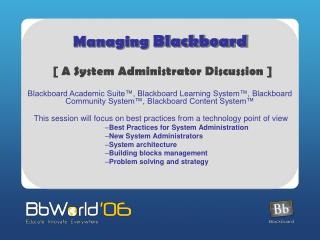 Managing  Blackboard