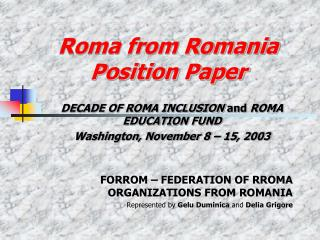 Roma from Romania Position Paper