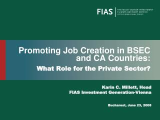 Promoting Job Creation in BSEC and CA Countries: