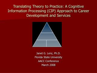 Translating Theory to Practice: A Cognitive Information Processing (CIP) Approach to Career Development and Services
