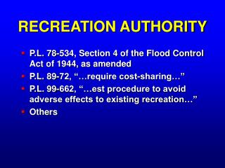 RECREATION AUTHORITY