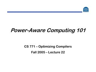 Power-Aware Computing 101