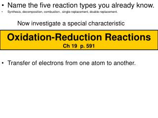 Oxidation-Reduction Reactions      Ch 19  p. 591