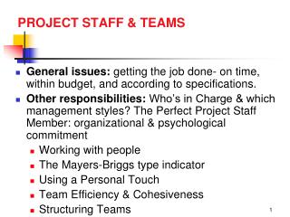 PROJECT STAFF & TEAMS