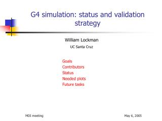 G4 simulation: status and validation strategy