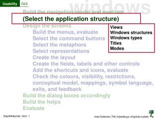 Build the navigation model and evaluate (Select the application structure) Design the screens