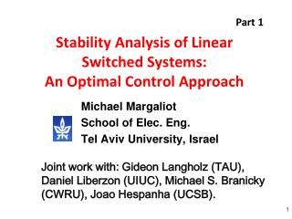 Stability Analysis of Linear Switched Systems: An Optimal Control Approach