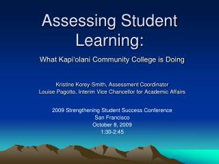 Assessing Student Learning:
