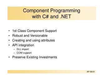 Component Programming  with C# and .NET