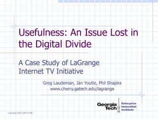 Usefulness: An Issue Lost in the Digital Divide