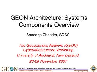 GEON Architecture: Systems Components Overview
