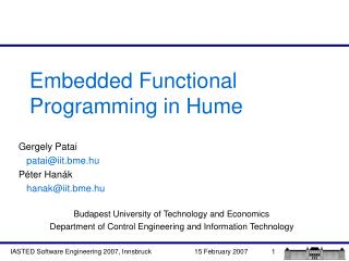 Embedded Functional Programming in Hume